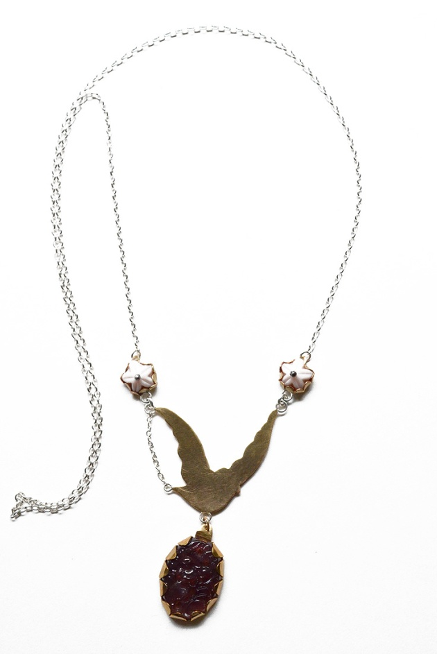 Birdtropper Delivering Flowers Necklace, From Alight Collection.  View at allysonmellone.com